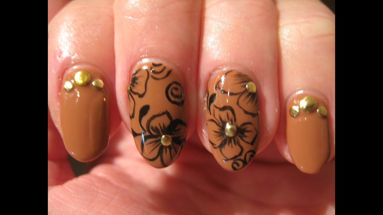 Dark togepi pictures to pin on pinterest pinsdaddy - Nail Art Antique Flowers On Taupe Gelpolish Youtube F Ballfo Images