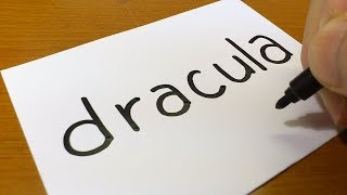 How to turn words DRACULA into a Cartoon for kids - How to draw doodle art on paper