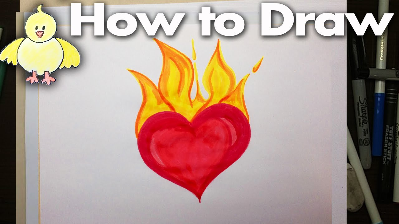 How to Draw and Easy Cartoon Flaming Heart Step by Step ...