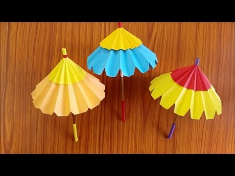 How to make a umbrella with paper ! Origami paper umbrella ! DIY Paper umbrella making step by step
