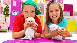 Катя и Макс нашли котят и маленького щенка