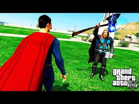 ТОР ПРОТИВ СУПЕРМЕНА В ГТА 5 МОДЫ! THOR VS SUPERMAN ОБЗОР МОДА В GTA 5! ИГРЫ ГТА ВИДЕО MODS