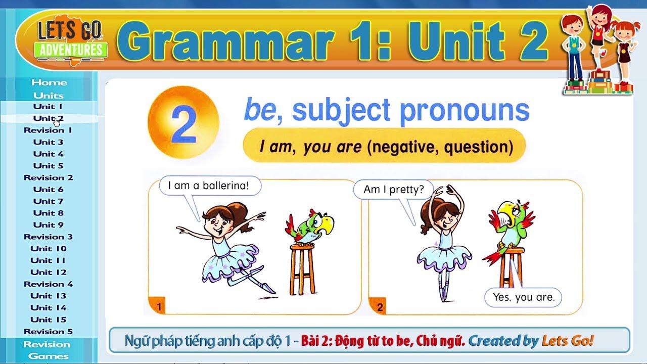 Ngữ Pháp Tiếng Anh 1: Bài 2 – BE, CHỦ NGỮ | GRAMMAR 1: UNIT 2 – BE, SUBJECT PRONOUNS