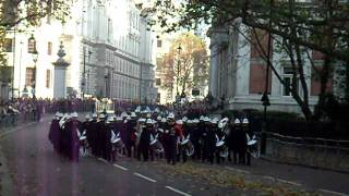 Royal marines band & royal navy return from the cenotaph remembrance sunday 13/11/2011