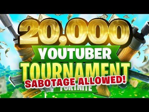 SABOTAGE ALLOWED - $20,000 YouTuber/Streamer FORTNITE TOURNAMENT (Week 1)