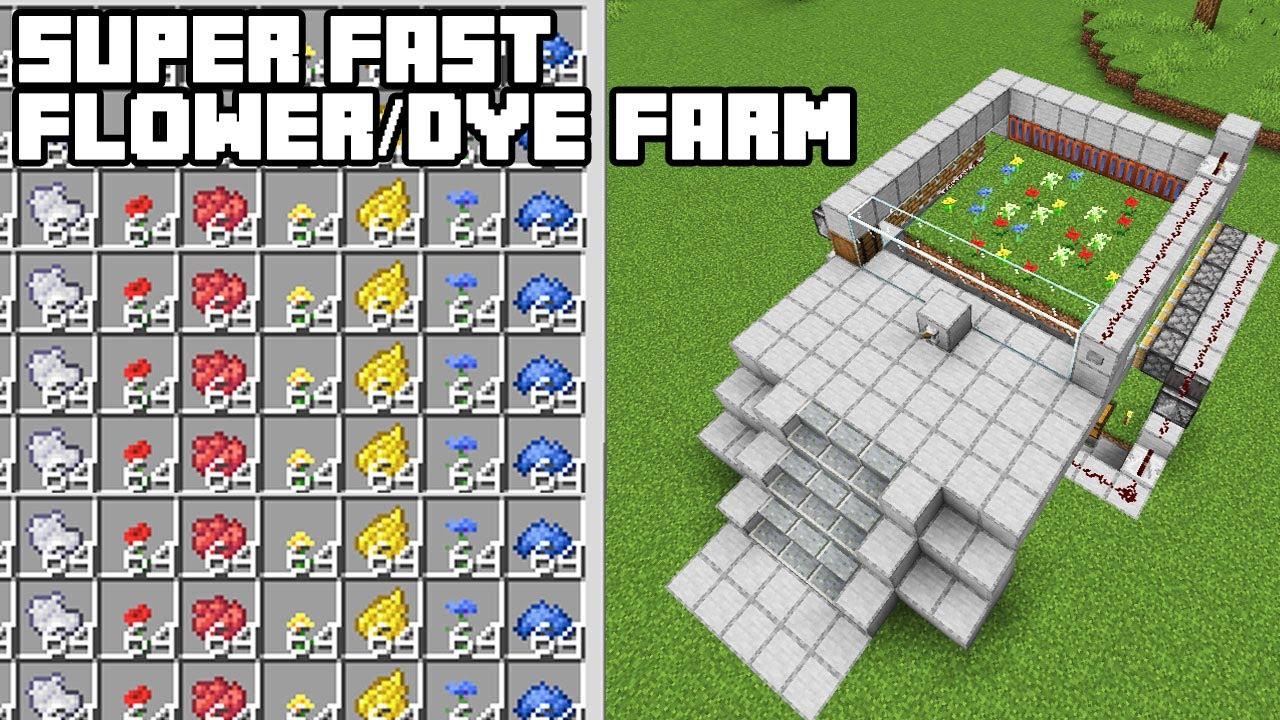 Super Fast Flower/Dye Farm - Minecraft 8.86+ Tutorial (Java Edition)