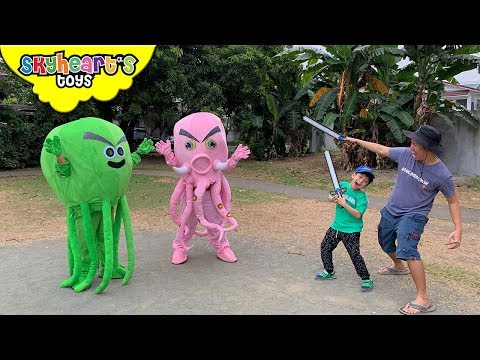 Battle of the TWIN OCTOPUS MONSTERS! Skyheart action dinosaurs for kids