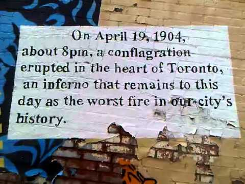 HiMY SYeD    The Great Toronto Fire of 1904, John Croft Mural and Heritage Toronto Historic Plaque, Croft Street, Toronto Ontario Canada, Tuesday April 19 2011   010