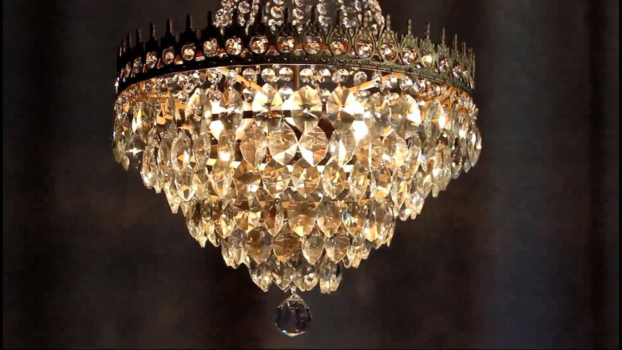 Huge Antique Er Crystal Candelabra Chandelier Lighting Brass Old Lamp E27 You