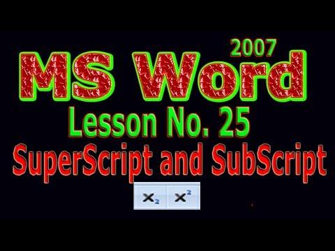 Microsoft Word 2007 Tutorial In Urdu / Subscript And SuperScript Lesson # 01