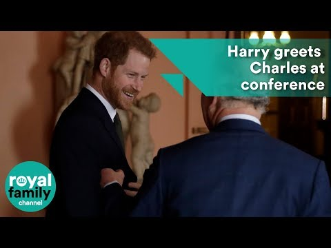 Harry greets Charles at conference