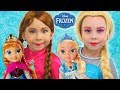 Elsa and Anna take care of Baby Dolls