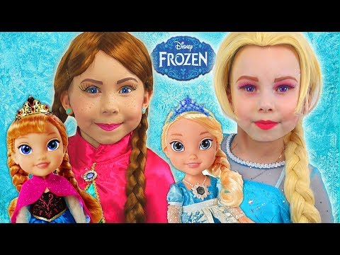 Kids Makeup & cosplay Elsa and Anna toddlers Alisa Pretend Play with DOLL Princess & DRESS UP
