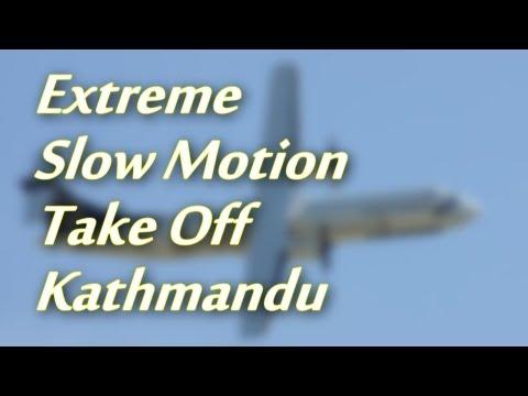 Kathmandu Take Off - Extreme Slow Motion - Buddha Air Turboprop