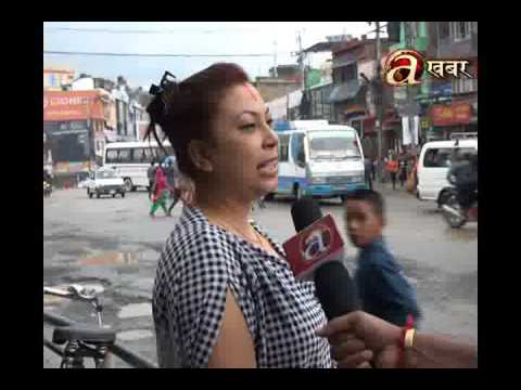 People angry on the road conditions in Kathmandu