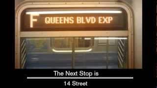 R160 - Manhattan Bound F via D [West End - 4 ave Local] announcements