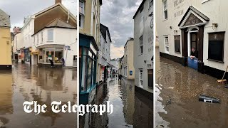 video: Flash floods in Salcome after thunderstorm hits Devon