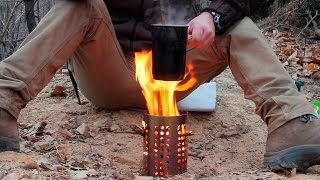 Bushcraft cooking: rice on the hobo stove