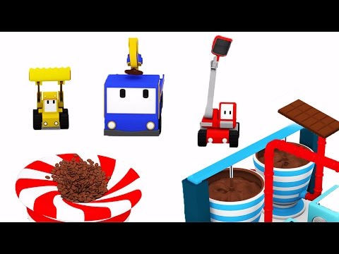 The Chocolate Factory  - Learn with Tiny Trucks : bulldozer, crane, excavator | Educational cartoon