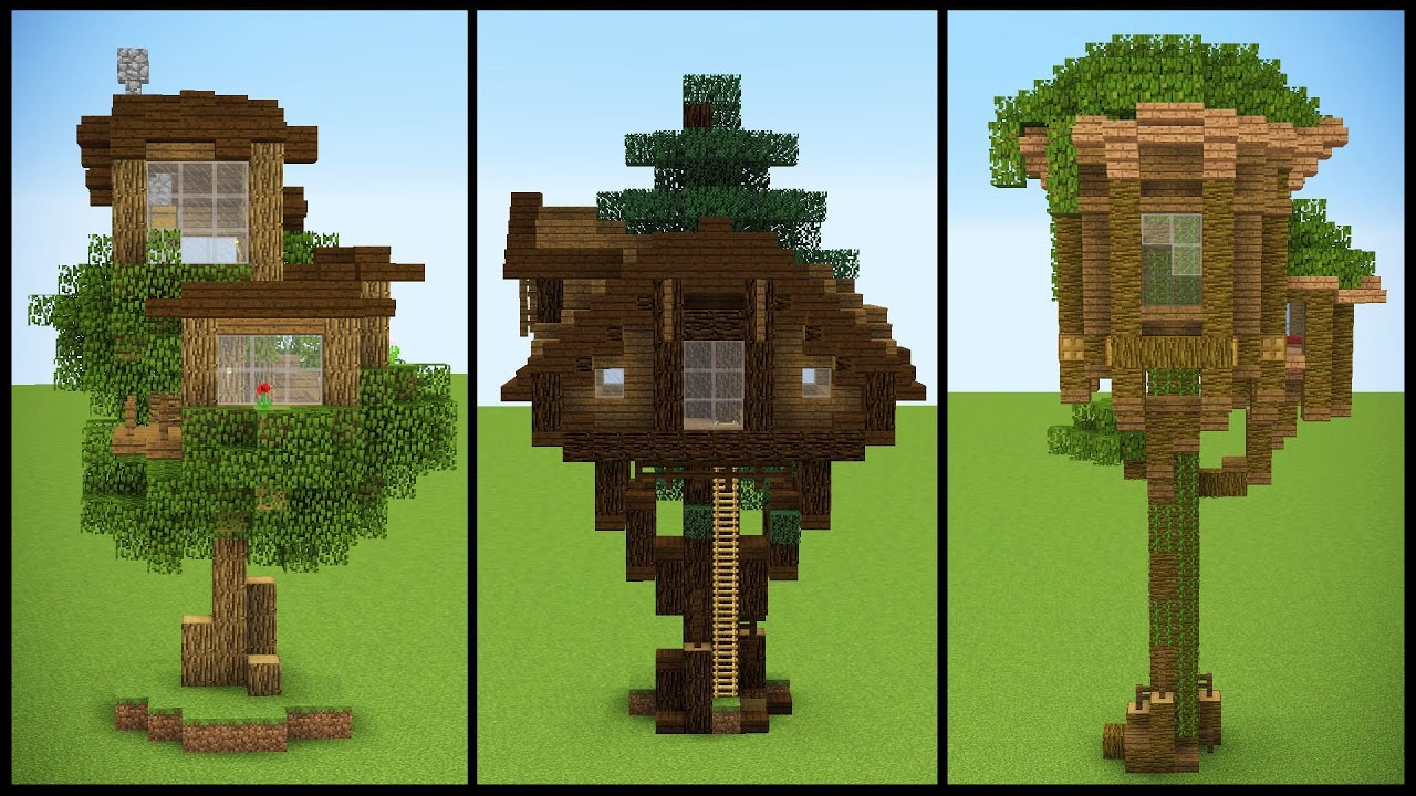 3 Minecraft Starter TREEHOUSE Designs YouTube