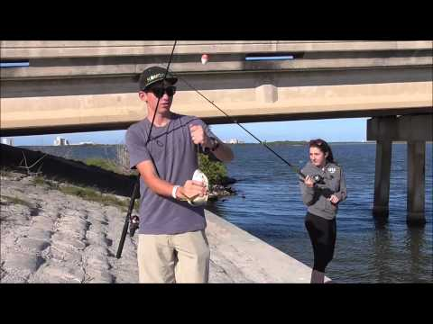 Catching Trout, Jack and Puffer Fish in the Banana River Florida
