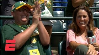 Mom battling leukemia has emotional reaction to son scoring mid-interview | LLWS