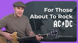 AC/DC - For Those About To Rock Guitar Lesson - Chords & Rhythm Malcolm Angus