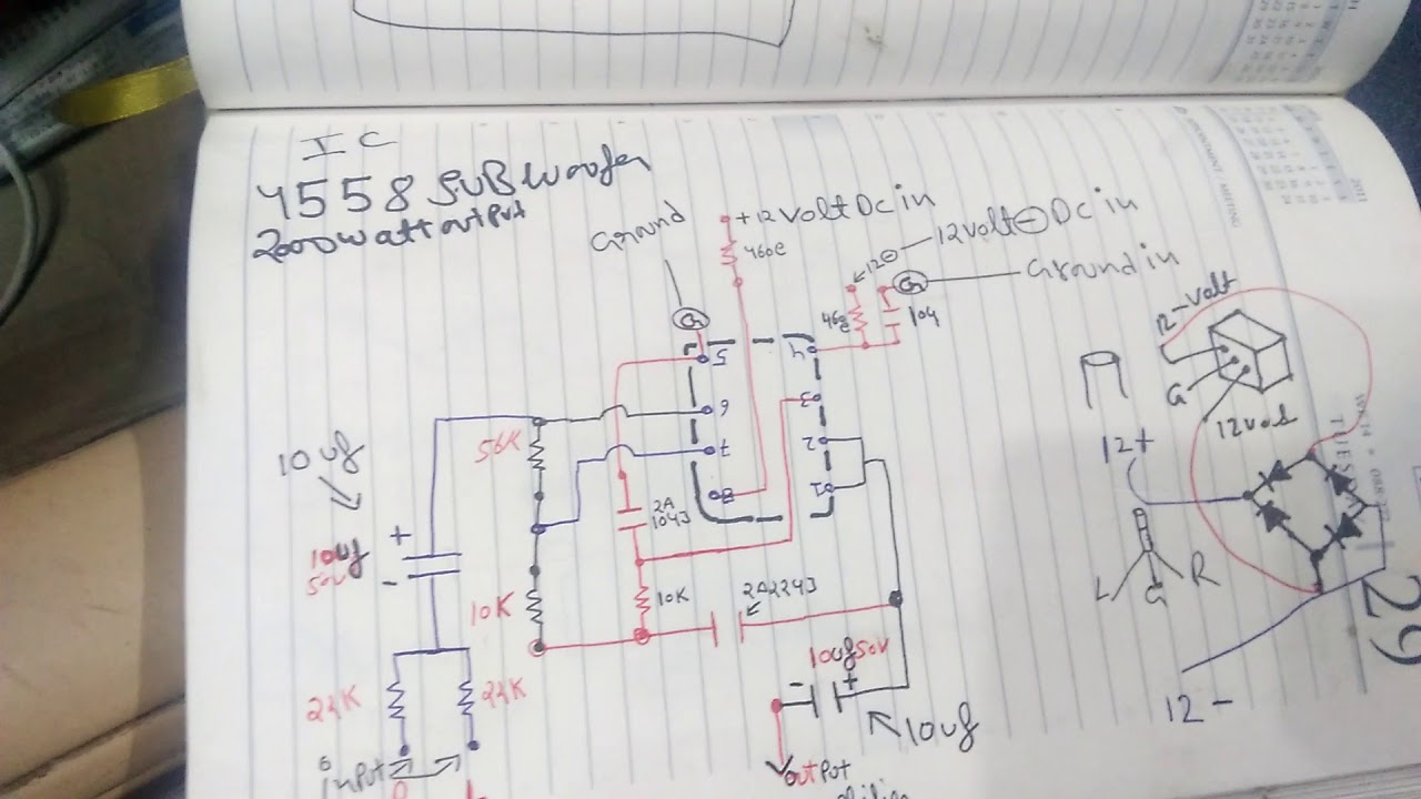 Ic 4558 Subwoofer Circuit Diagram 100work Mostly Use In Hometheater 12v Wiring For Subwoofers