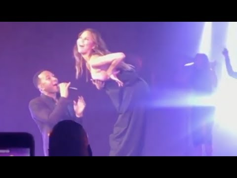 John Legend Wife Chrissy Teigen Has A Nip Slip While Getting Too Freaky On Stage
