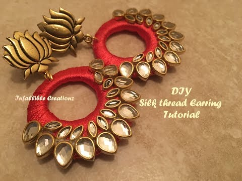How to make silk thread Earrings at home | Silk thread kundan Earrings | Tutorial
