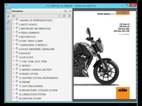 KTM Duke 125 and 200 (2013) - Service Manual - Wiring Diagram - YouTube