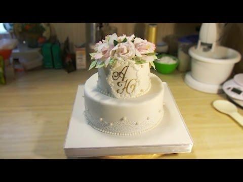 Двухъярусный свадебный торт. Оформление. Полное видео - Я - ТОРТодел!