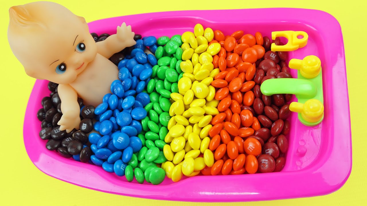 Learn Colors Baby Doll Bath Time With MMs Chocolate Ice Cream Coloring Pages Preschool Learning