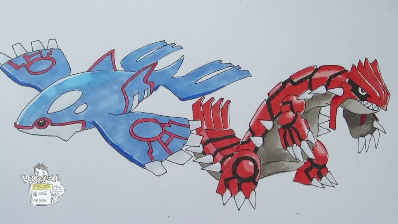 How to draw pokemon no 382 kyogre no 383 groudon youtube - Pictures of groudon and kyogre ...
