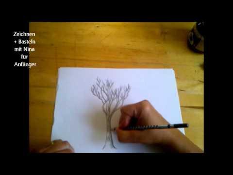 Einen Baum zeichnen. Pflanzen malen lernen.