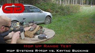 Airsoft Hop Up Range Test: Hop Systems R-Hop vs Krytac Bucking