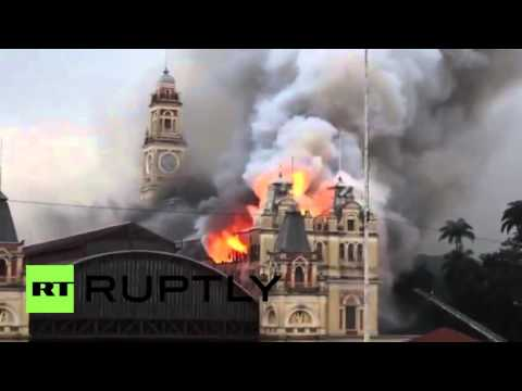 Huge fire destroys Museum in Sao Paulo