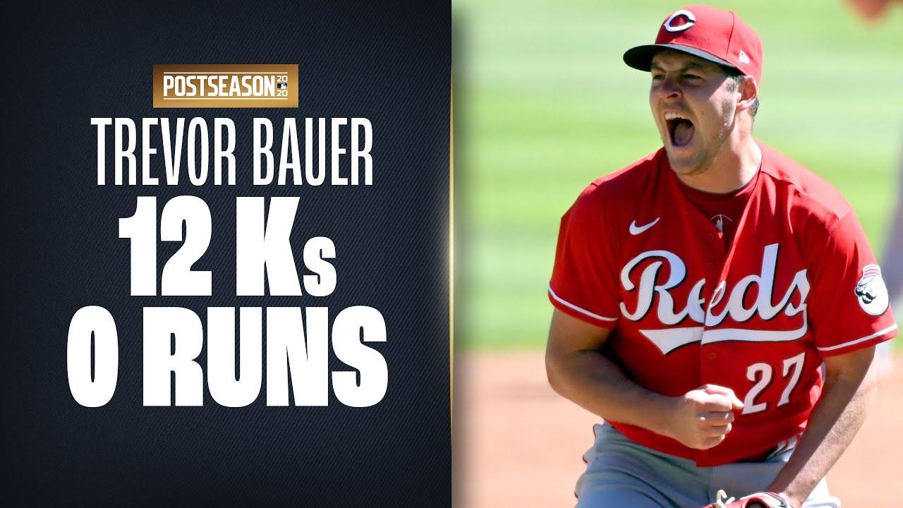 Reds' Trevor Bauer RACKS UP 12 Ks over 7.2 scoreless innings vs. Braves!