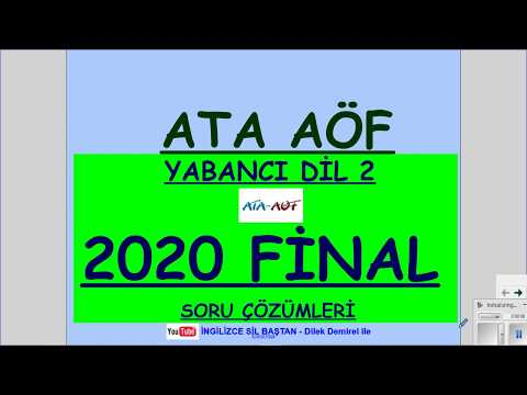 ATA AÖF İNGİLİZCE 2 2020 FİNAL