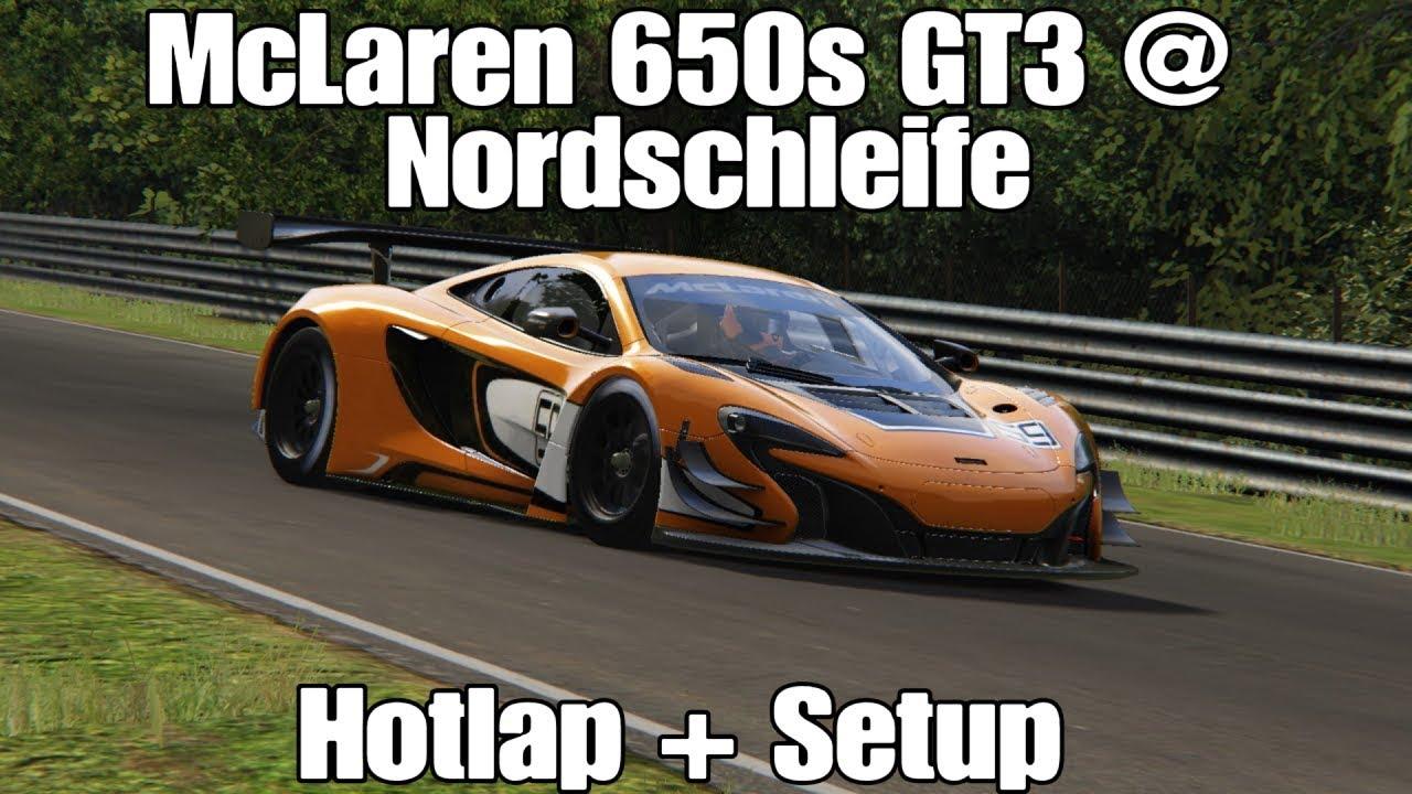 assetto corsa mclaren 650s gt3 nordschleife | 6:30.6 + setup - youtube