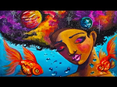 Galactic Soul Real time Acrylic painting tutorial how to paint faces #AboutFace #4