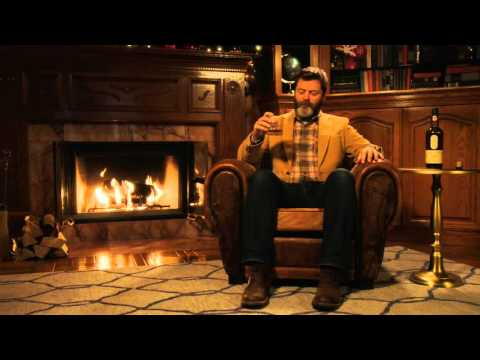 Nick Offerman Silently Drinking Whisky By A Fireplace For 45 Minutes