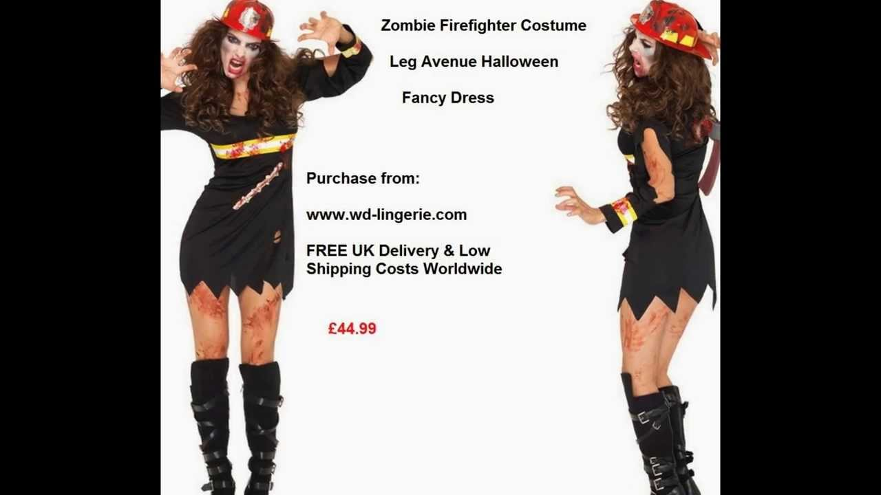 Zombie Firewoman Costume Ladies Bloody Fire Woman Outfit