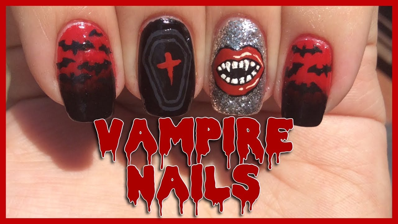 Vampire Nail Art Tutorial   Halloween Nails - Vampire Nail Art Tutorial Halloween Nails - YouTube