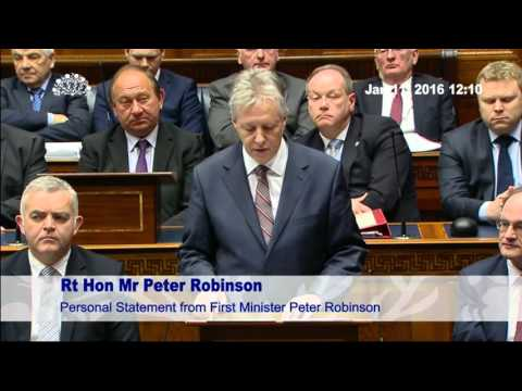 Peter Robinson Steps Down as First Minister