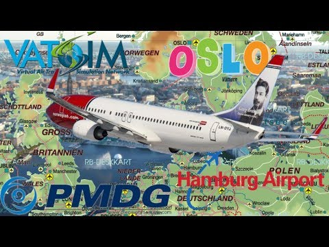 PMDG 737NGX on Vatsim - Oslo to Hamburg Aerosoft German Airport (FSX)