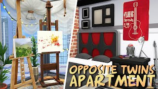 OPPOSITE TWINS APARTMENT 🎨💻 | The Sims 4: Apartment Renovation Speed Build