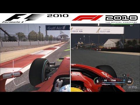 F1 Game Comparison (2010 - 2018 | Bahrain International Circuit | Bahrain GP Hotlaps)