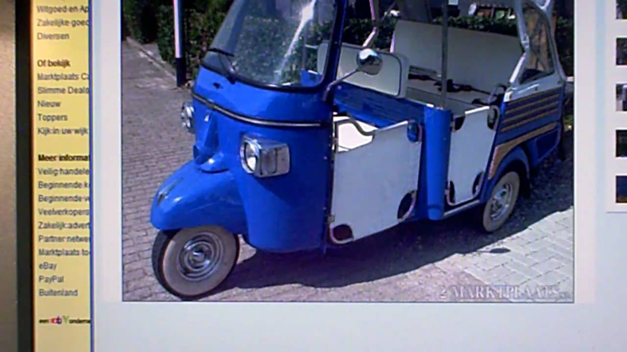 vespa piaggio ape calessino tuk tuk 2008 for sale - youtube