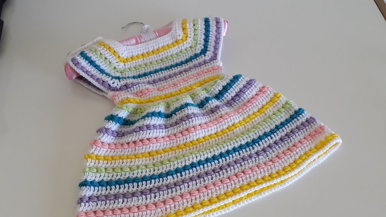 "Crochet #19 How to crochet a dress for a girl  ""beaded rainbow dress"""